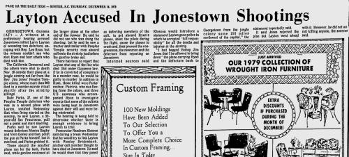 December 14, 1978, Sumter Daily Item - AP, page 16-A, Layton Accused In Jonestown Shootings,