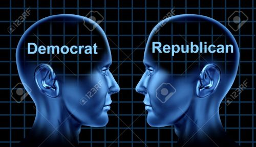 14119215-american-politics-symbol-with-democratic-and-republican-people-facing-each-other-as-campaign-rivals-stock-photo